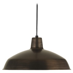 Farmhouse Barn Light Pendant Bronze Metal Shade by Progress Lighting