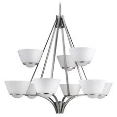 Kichler Lighting Kichler Modern Chandelier with White Glass in Brushed Nickel Finish 2271NI