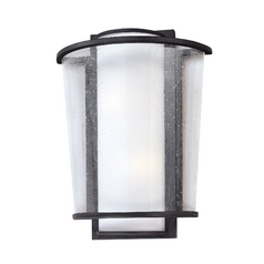 Modern Sconce Wall Light with White Glass in Forged Bronze Finish