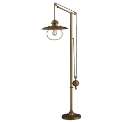 Pulley Swing Arm Floor Lamp - Brass Finish