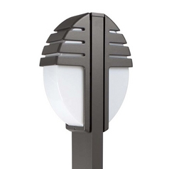 Modern Post Light with White Glass in White Finish