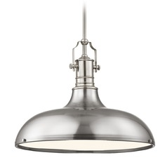 Farmhouse Satin Nickel Metal Pendant Light 18.38-Inch Wide