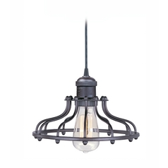 Polished Nickel Mini-Pendant Light with Cage Shade and Light Bulb