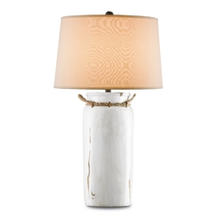 Currey and Company Lighting White Distress Crackle / Natural Rope / Shirley Rust Table Lamp with Dru