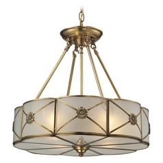 Elk Lighting Preston Brushed Brass Pendant Light with Scalloped Shade