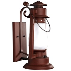 Scroll Arm Mount Rustic Outdoor Wall Lantern - Painted Rust Finish