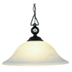Pendant Light with White Glass in Matte Black Finish