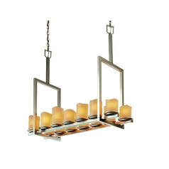 Candle Linear Island Pendant Light in Bronze Finish with 14 Lights