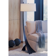 Floor Lamp with Beige / Cream Shade in Bronze Finish