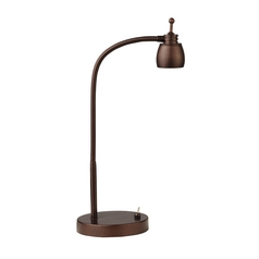 LED Task Lamp with Gooseneck Arm in Bronze Finish - 5600K LED