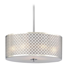 Design Classics Lighting Contemporary Pendant Light with Chrome Metal Drum Shade DCL 6528-26 SH9462