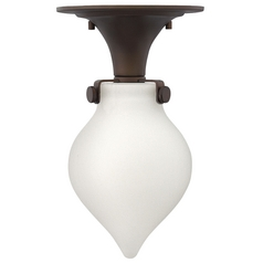 Semi-Flushmount Light with White Glass in Oil Rubbed Bronze Finish