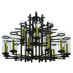 Mid-Century Modern LED Chandelier Bronze Midtown LED by Maxim Lighting