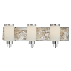 Minka Lighting Modern Bathroom Light with White Glass in Chrome with Natural Shell Finish 3243-77