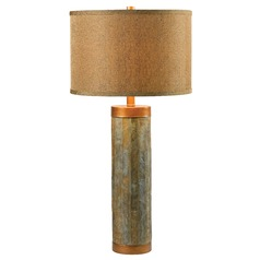 Modern Table Lamp with Gold Shade in Natural Slate with Copper Finish Accents Finish