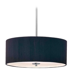 Contemporary Pendant Light with Black Drum Shade in Chrome Finish