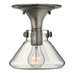 Semi-Flushmount Light with Clear Glass in Antique Nickel Finish