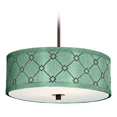 Dolan Designs Lighting Drum Pendant Light with Green Shade in Bronze Finish 5104-220