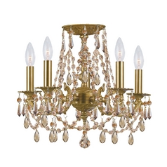 Crystal Mini-Chandelier in Aged Brass Finish