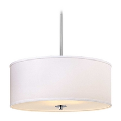 Large Modern Chrome Drum Pendant Light with White Shade
