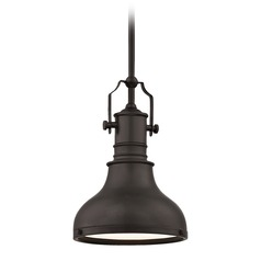 Farmhouse Bronze Metal Pendant Light 8.63-Inch Wide