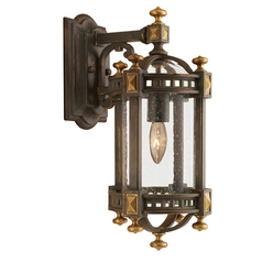 Seeded Glass Outdoor Wall Light Brown and Gold Highlights Fine Art Lamps