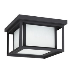 Etched Seeded Glass Close To Ceiling Light Black Sea Gull Lighting