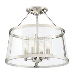 Seeded Glass Semi-Flushmount Light Polished Nickel Barlow by Quoizel Lighting