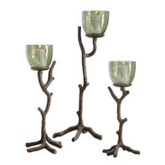 Uttermost Lighting Candle Holder in Textured Aluminum Finish 19729