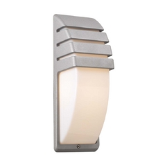 Modern Outdoor Wall Light with White Acrylic in Silver Finish
