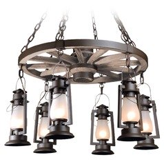 6-Light Wagon Wheel Chandelier - Bronze Finish