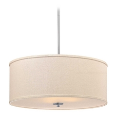 Large Modern Drum Pendant Light in Polished Chrome Finish