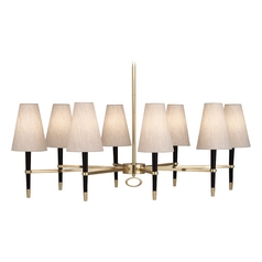 Mid-Century Modern Chandelier Brass / Wood Jonathan Adler Ventana by Robert Abbey