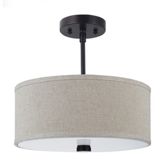 Modern Semi-Flushmount Light with Beige / Cream Shades in Burnt Sienna Finish
