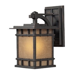 Outdoor Wall Light with Brown Glass in Weathered Charcoal Finish