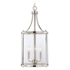 Savoy House Polished Nickel Pendant Light with Cylindrical Shade