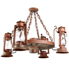 4-Light Wagon Wheel Chandelier - Natural Rust Finish