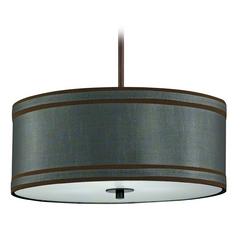 Drum Pendant Light with Green Shade in Bronze Finish