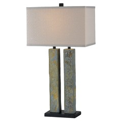 Modern Table Lamp with Beige / Cream Shade in Natural Slate Finish