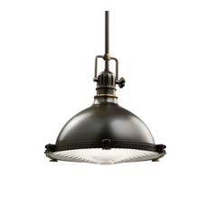 Kichler Nautical Bronze Pendant Light with Fresnel Lens