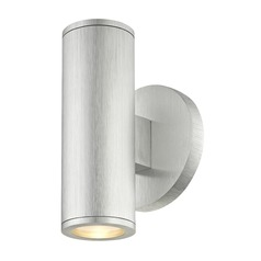 LED Cylinder Outdoor Wall Light Up / Down Brushed Aluminum 3000K
