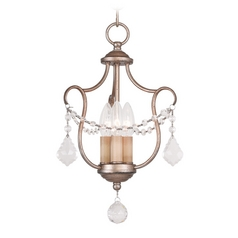 Livex Lighting Chesterfield Antique Silver Leaf Pendant Light