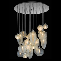 Oggetti Cosmos Satin Nickel Multi-Light Pendant with Bowl / Dome Shade