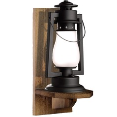 Wood Wall Mount Rustic Outdoor Wall Lantern - Textured Black Finish