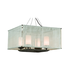 Troy Lighting Pendant Light with White Glass in Weathered Bark Finish F2208WB