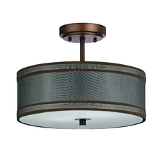 Semi-Flushmount Light with Green Shade in Neuvelle Bronze Finish
