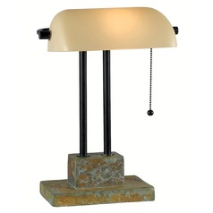 Modern Piano / Banker Lamp in Natural Slate with Oil Rubbed Bronze Accents Finish