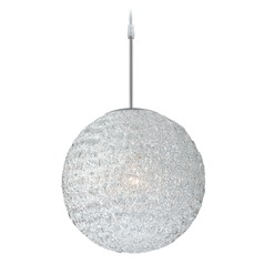 Lite Source Icy Polished Steel Pendant Light with Globe Shade