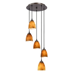 Design Classics Lighting Modern Multi-Light Pendant with Art Glass and Five Lights 580-220 GL1001MB