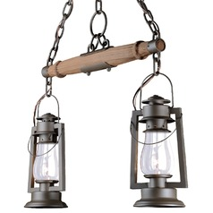 2 Rustic Yoke Mount Chandelier - Bronze Finish